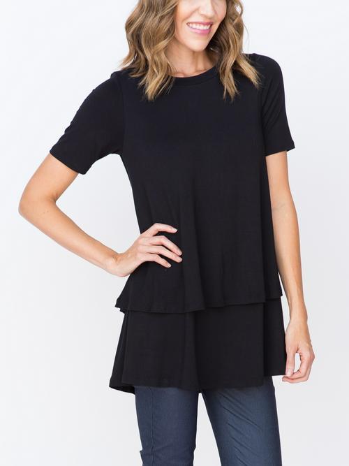 Agnes & Dora™ Bloom Tiered Tunic with Half Sleeve Black