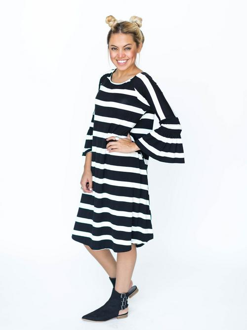 Agnes & Dora™ Bloom Dress Black and White Stripe
