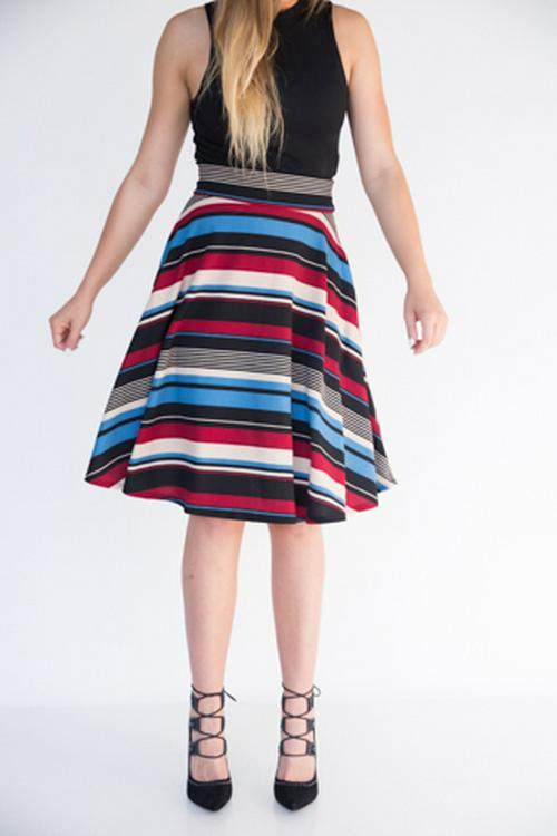 XS Agnes & Dora™ Ribbons in Denim Midi Skirt