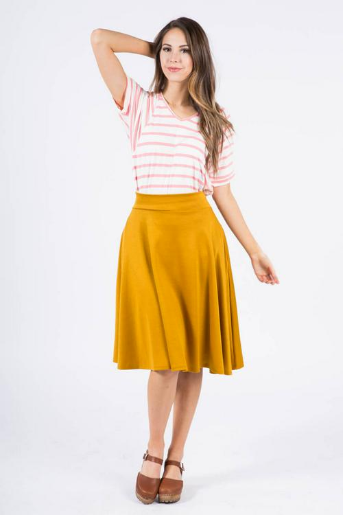 2XL Agnes & Dora™ Midi Skirt in Solid Mustard Ponte