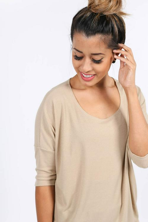Large Agnes & Dora™ Hi-Lo Tunic Khaki Ribbed
