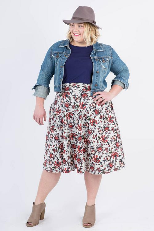 Small Agnes & Dora™ Mehndi Sprinkle Midi Skirt  Sage and Rust