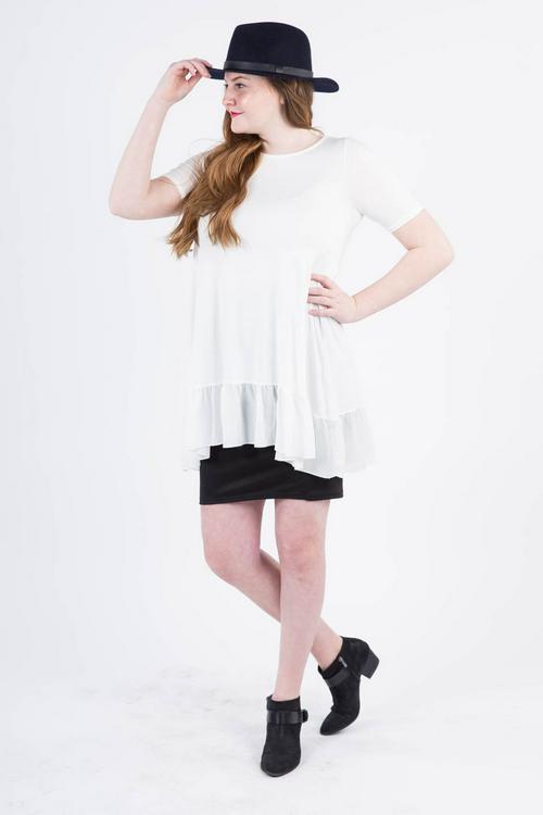 XL Agnes & Dora™ Chiffon Ruffle Tunic Ivory