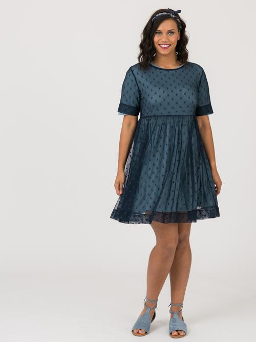 XS Agnes & Dora™ Short Mesh Easy Dress Navy Dot