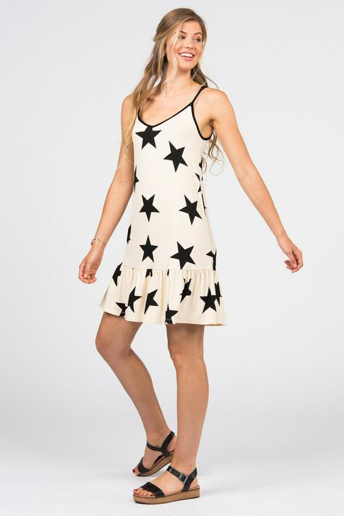 S, M, L Agnes & Dora™ Sleek Wunder Slip Dress Black Star