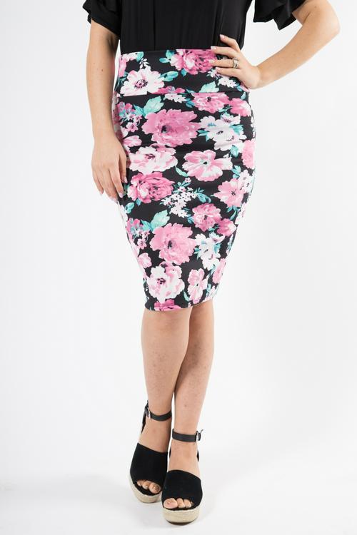 Medium Agnes & Dora™ Pencil Skirt Pink Floral