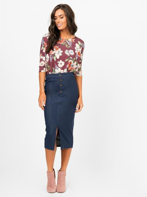 Agnes & Dora™ Button Pencil Skirt Dark Denim