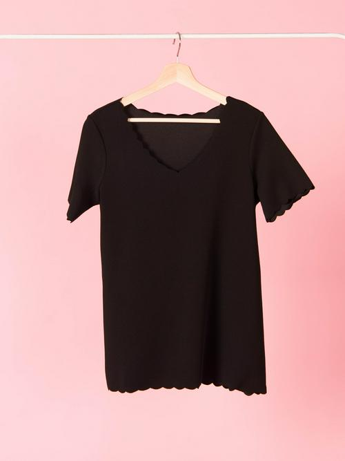 Agnes & Dora™ Scalloped Top Black