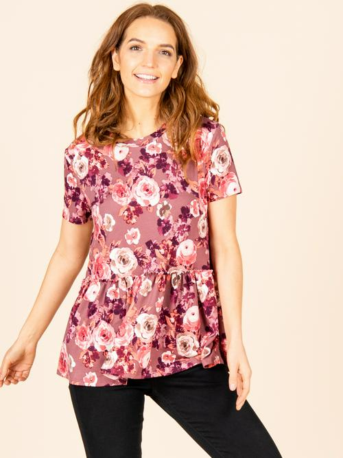 Small Agnes & Dora™ Relaxed Ruffle Tee Mauve Floral