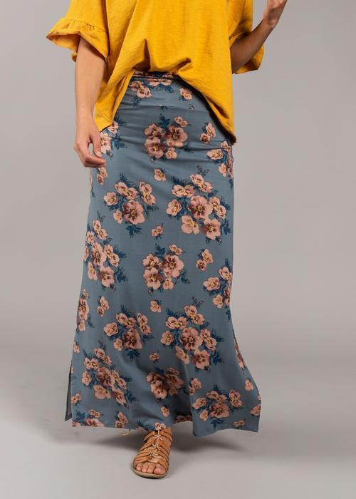 Large Agnes & Dora™ Side Slit Maxi Skirt Blossom Blues