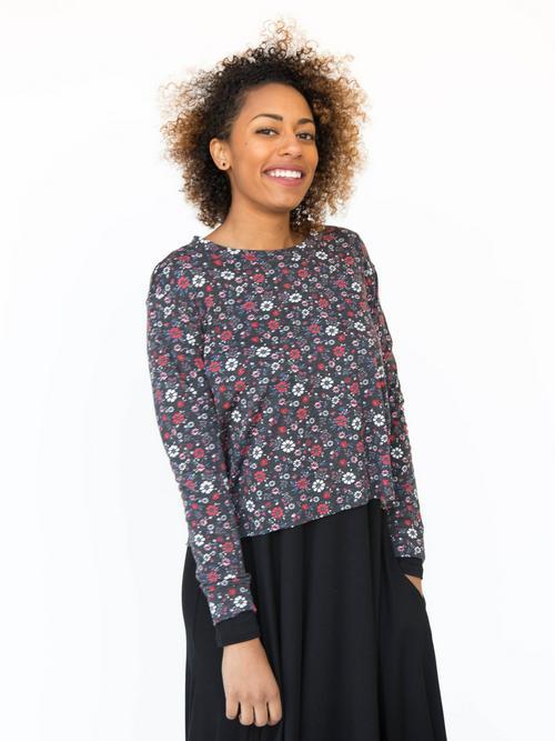 3XL Agnes & Dora™ Pullover Mini Floral Black/Red