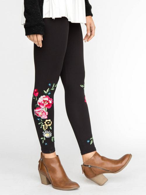 Agnes & Dora™ Embroidered Leggings Black