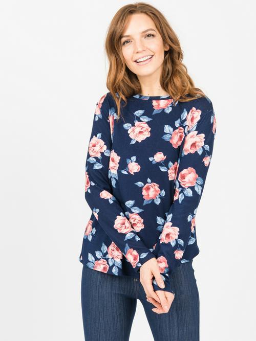 XL Agnes & Dora™ Cross Over Sweater Navy/Blush Floral