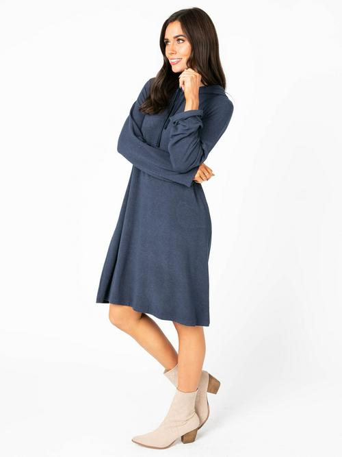 Small Agnes & Dora™ Effortless Hooded Dress Heathered Navy