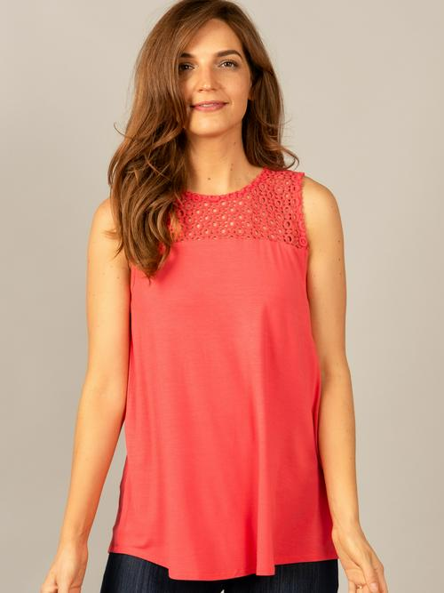 Small Agnes & Dora™ Eyelet Essential Tank Coral