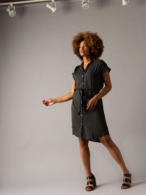 Medium Agnes & Dora™ Shirt Dress Cuff Sleeve Black/Beige Stripe