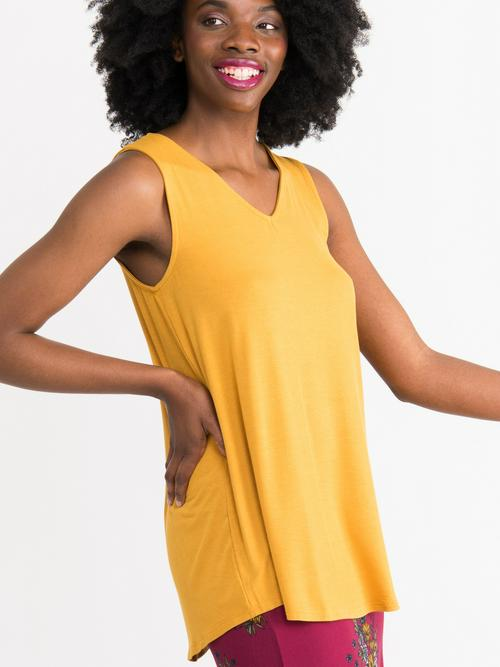 3XL Agnes & Dora™ Essential Tank V-Neck Mustard
