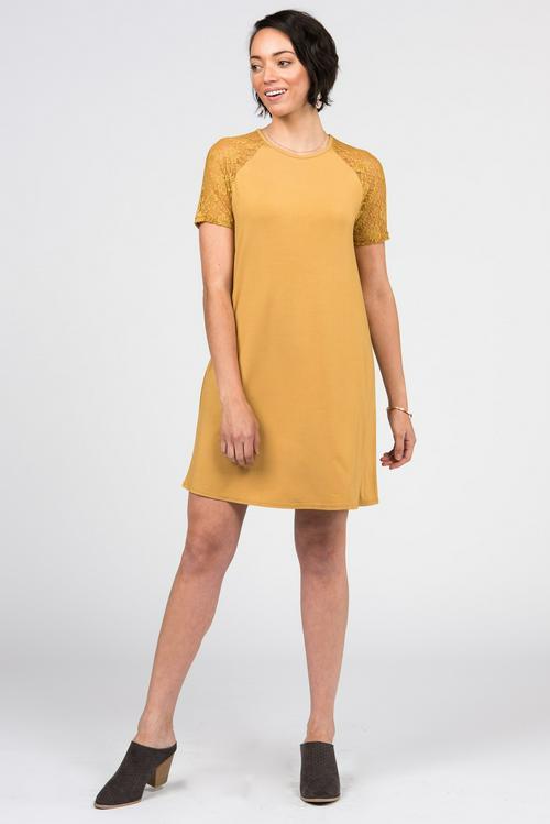 XL, 3XL Agnes & Dora™ Lace Raglan Dress Deep Gold