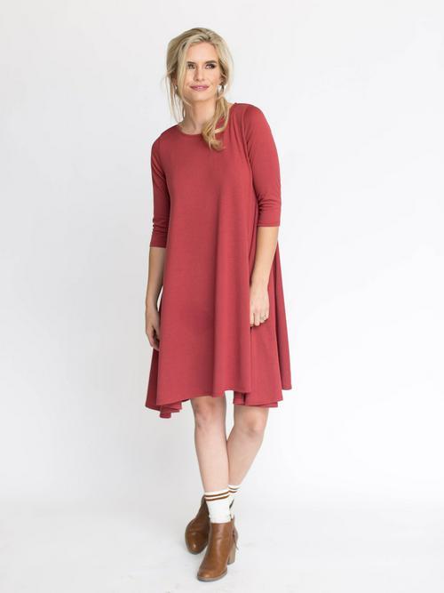 Small Agnes & Dora™ Sway Dress 3/4 Sleeve French Terry Marsala