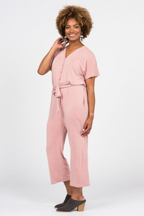 Large Agnes & Dora™ Belted Jumpsuit Mauve