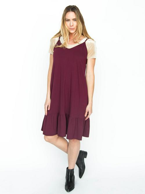 M, L, 3XL Agnes & Dora™ Slip Dress Modal Wine