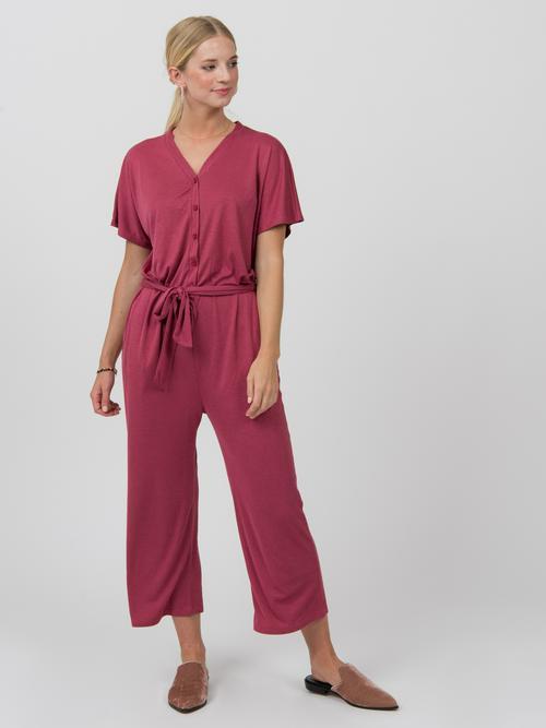 Agnes & Dora™ Belted Jumpsuit Raspberry