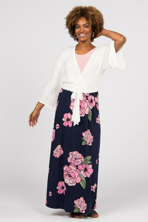 Large Agnes & Dora™ Essential Maxi Skirt Graphic Peony Print