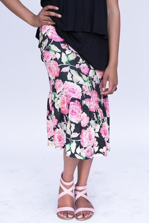 Medium Agnes & Dora™ Boho Ruffle Midi Skirt Shades of Rose