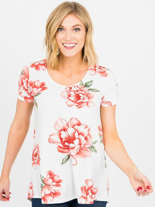 3XL Agnes & Dora™ Everyday Tee Ivory/Sienna Floral