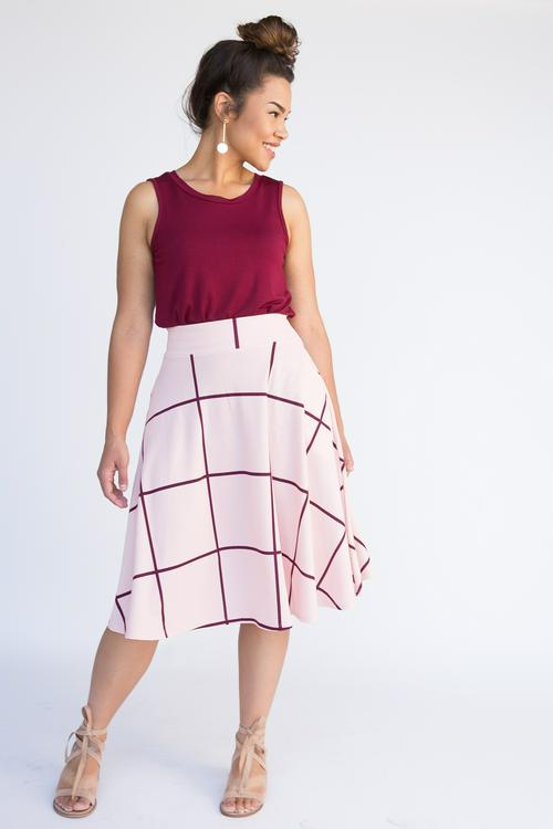 XS Agnes & Dora™ Midi Skirt Blush and Berry Window Pane